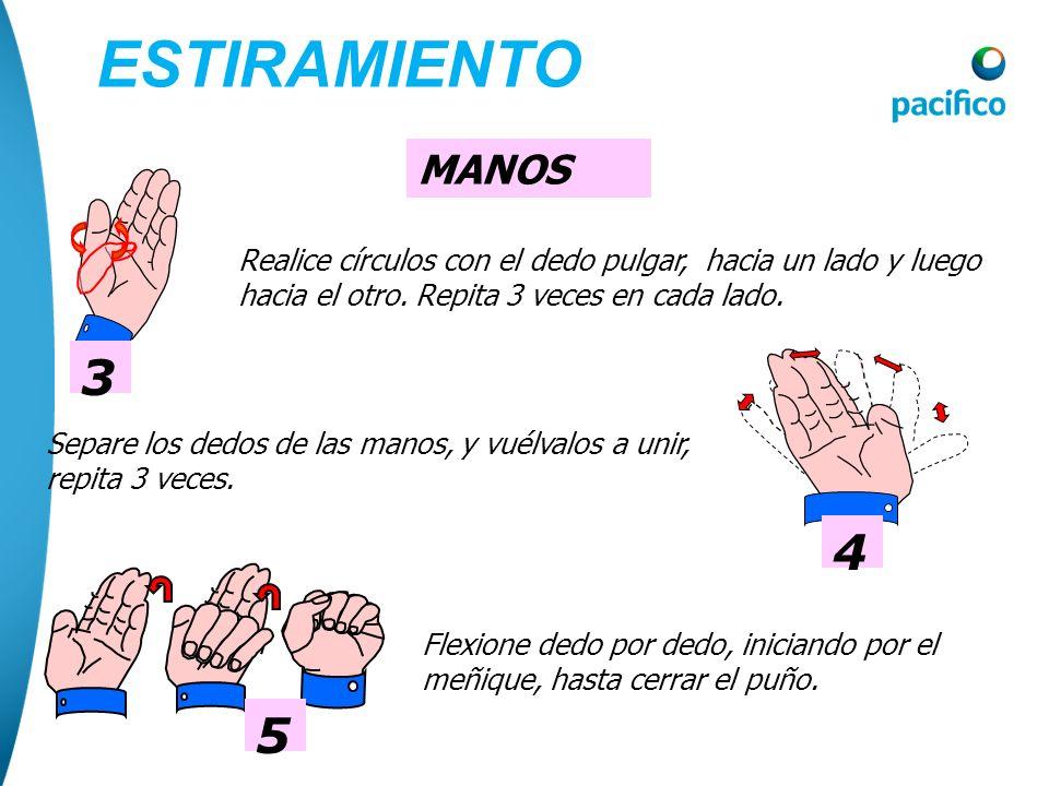 MANOS 1 Abra y cierre las manos, llevando el pulgar hacia adentro y flexionando los dedos, repita 3 veces. 2 Realice círculos con las manos, hacia un