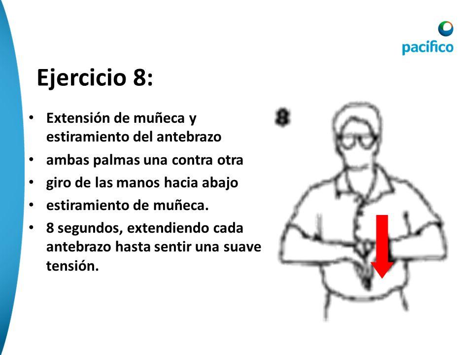 Ejercicio 7: Extensión de muñeca y estiramiento del antebrazo ambas palmas una contra otra dedos hacia arriba movimientos hacia abajo de estiramiento