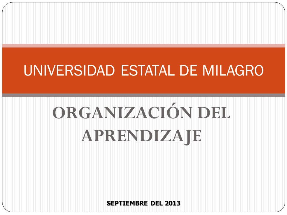 SEPTIEMBRE DEL 2013 UNIVERSIDAD ESTATAL DE MILAGRO ORGANIZACIÓN DEL APRENDIZAJE