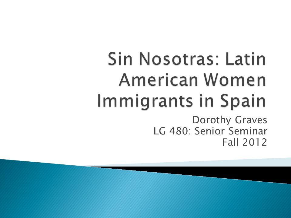 ForeignersPercentageWomenPercentageMenPercentage Total5,747,734100.02,729,79947.53,017,93552.5 Latin Americans 1,760,03030.6970,16155.1789,86944.9 Table 1: Latin American Population in Spain According to the Spanish Census, 2010.