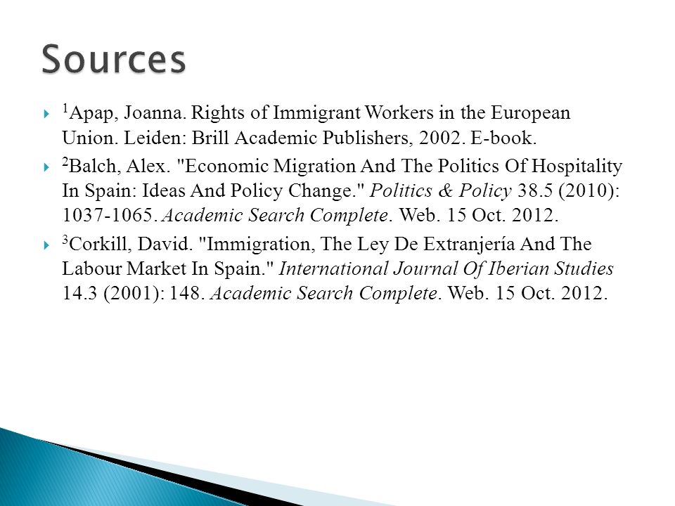 1 Apap, Joanna. Rights of Immigrant Workers in the European Union.