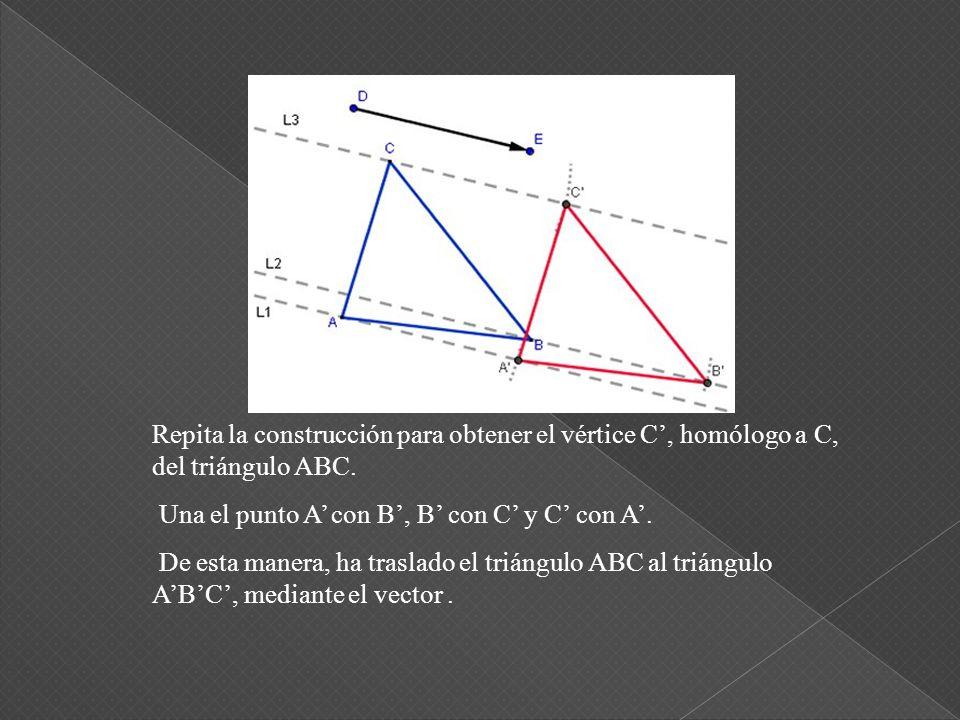 Rotule el punto de intersección, como B. Repita la construcción para obtener el vértice C, homólogo a C, del triángulo ABC. De igual manera, trace una