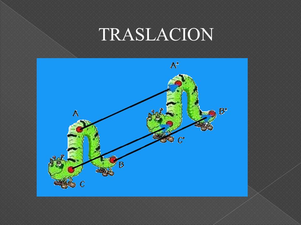 A(4,6) A (2,3) Traslación de A(4,6) a través del vector v(-2,-3) Traslación de B(-5,2) a través del vector v(4,4) B(-5,2) B(-1,6) Traslaciones de puntos en el sistema cartesiano.