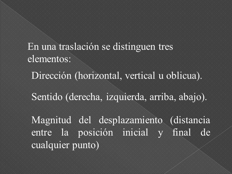 En una traslación se distinguen tres elementos: Dirección (horizontal, vertical u oblicua).