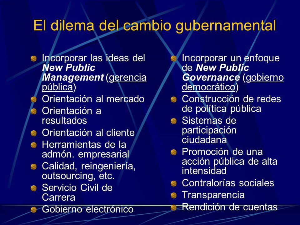 El dilema del cambio gubernamental Incorporar las ideas del New Public Management (gerencia pública) Orientación al mercado Orientación a resultados O