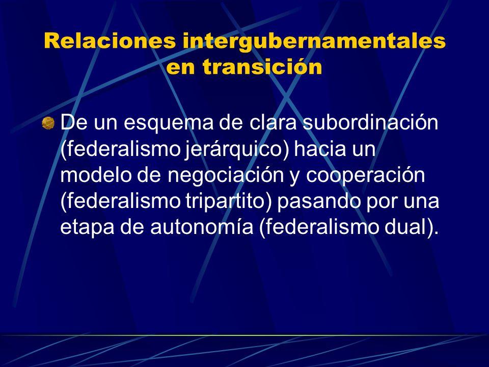 Relaciones intergubernamentales en transición De un esquema de clara subordinación (federalismo jerárquico) hacia un modelo de negociación y cooperaci