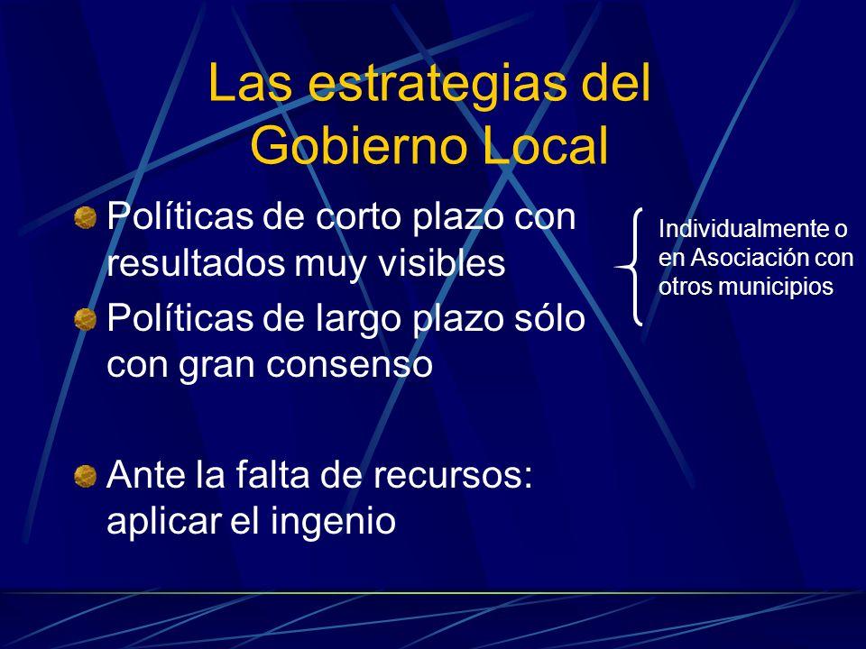 Las estrategias del Gobierno Local Políticas de corto plazo con resultados muy visibles Políticas de largo plazo sólo con gran consenso Ante la falta