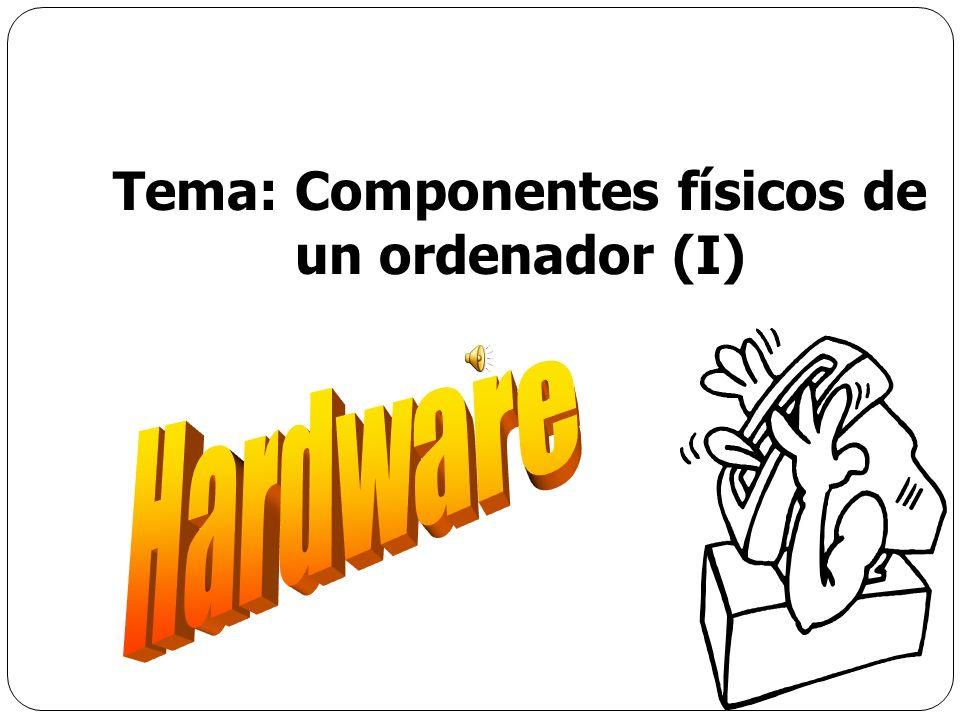 Memoria RAM Tecnologías de memoria RAM FPM DRAM (Fast page mode dynamic random access memory) 2% del mercado(28.5 MHz) EDO DRAM (Extended data-out dynamic random access memory) 3% del mercado(40 MHz) SDRAM (Synchronous dynamic random access memory) 86% del mercado en 2000, se estima el 50% en el 2003 (133 MHz) DDR SDRAM (Double-data-rate SDRAM) 41% del mercado en 2002, se estima 50% en el 2003(166 MHz) RDRAM (Rambus dynamic random access memory) Nicho en mercado de usuarios de alto nivel(1066 MHz) Tema: Componentes físicos de un ordenador