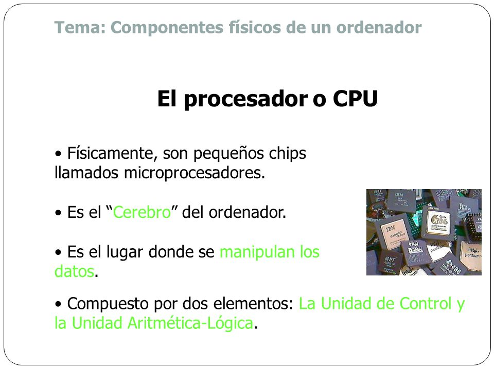 ¿Dónde se lleva a cabo el procesamiento de los datos? En la Unidad Central de Procesamiento (CPU) Repaso ¿Cómo se relacionan los elementos de hardware