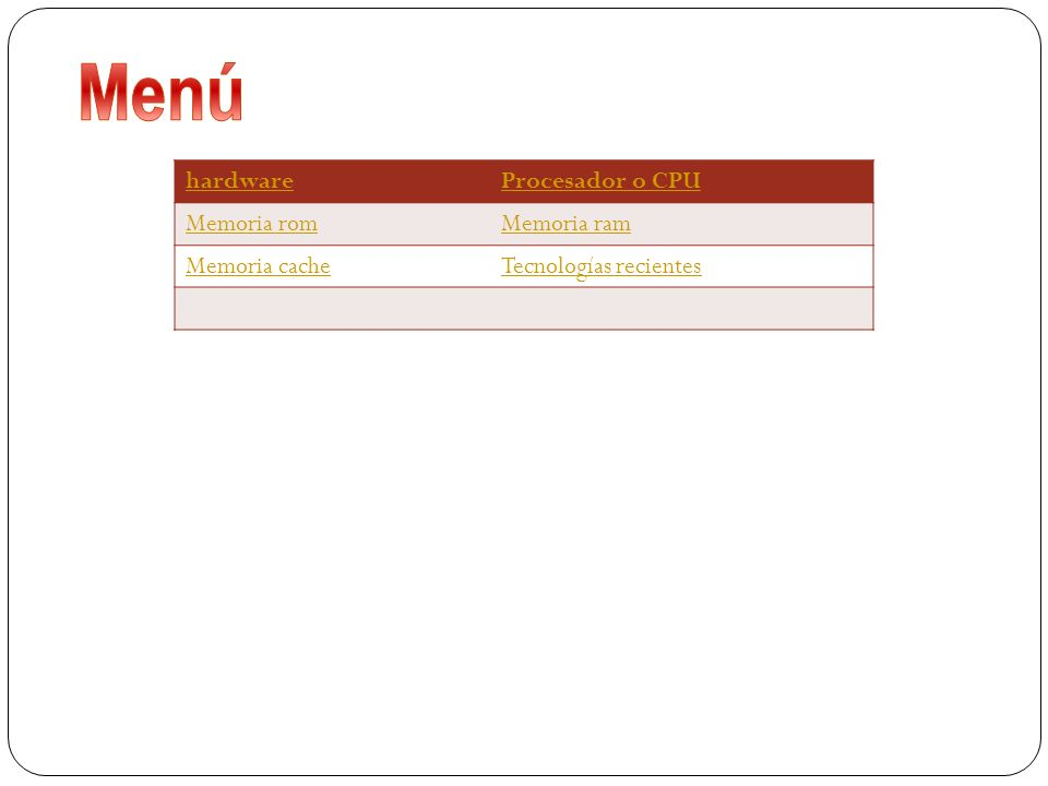 hardwareProcesador o CPU Memoria romMemoria ram Memoria cacheTecnologías recientes