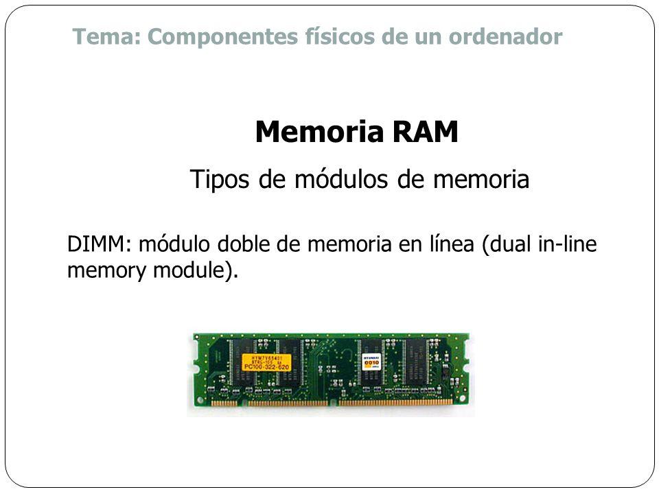 SIMM: módulo simple de memoria en línea (single in-line memory module). Memoria RAM Tipos de módulos de memoria Tema: Componentes físicos de un ordena