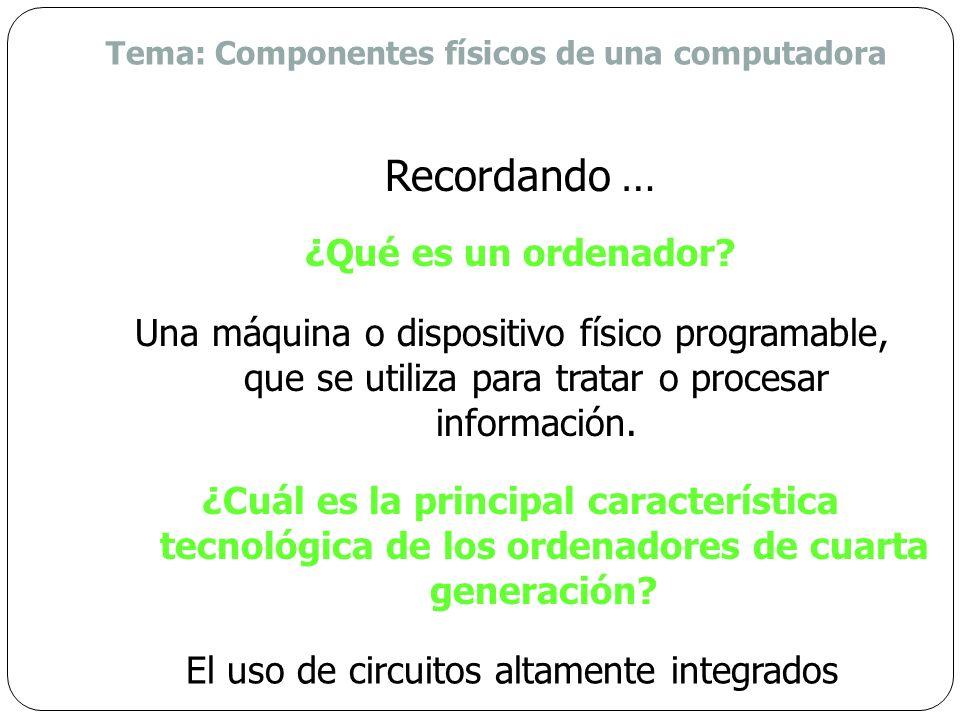 Tema: Componentes físicos de una computadora ¿Qué es un ordenador.