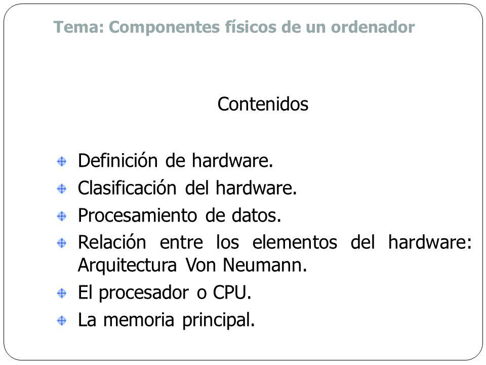 Tema: Componentes físicos de un ordenador Identificar los elementos que conforman el hardware de un ordenador. Identificar las piezas de hardware que