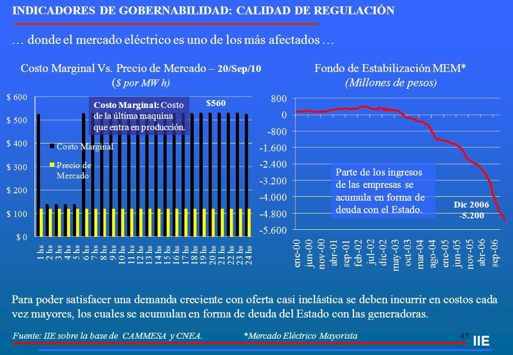 45 IIE … donde el mercado eléctrico es uno de los más afectados … Fuente: IIE sobre la base de CAMMESA y CNEA. *Mercado Eléctrico Mayorista Costo Marg