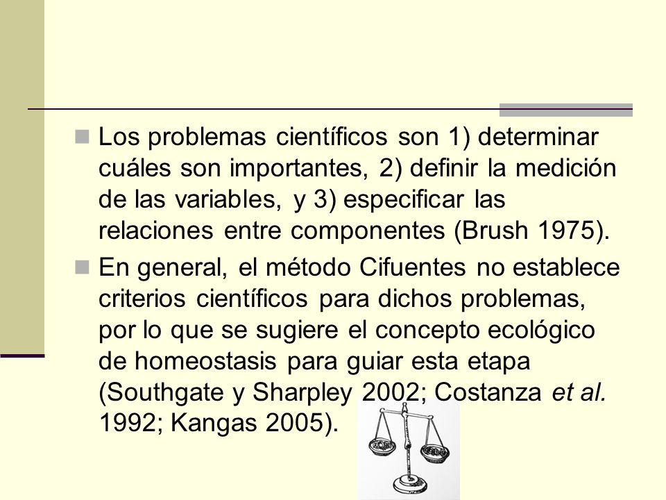 Los problemas científicos son 1) determinar cuáles son importantes, 2) definir la medición de las variables, y 3) especificar las relaciones entre com