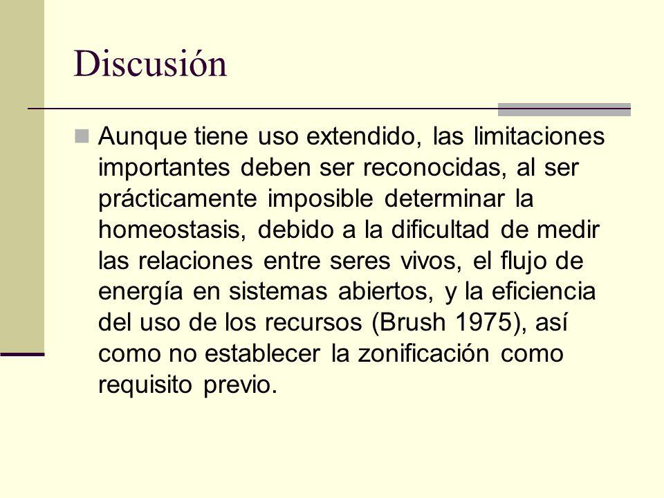 Discusión Aunque tiene uso extendido, las limitaciones importantes deben ser reconocidas, al ser prácticamente imposible determinar la homeostasis, de