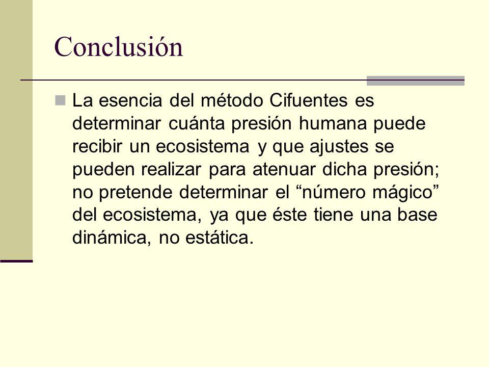 Conclusión La esencia del método Cifuentes es determinar cuánta presión humana puede recibir un ecosistema y que ajustes se pueden realizar para atenu