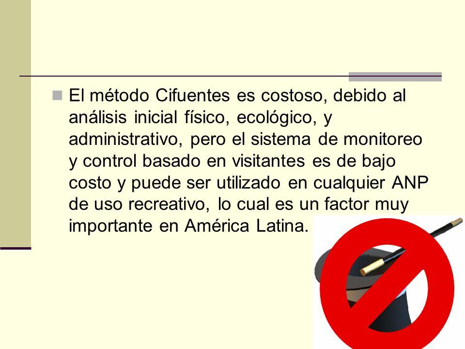 El método Cifuentes es costoso, debido al análisis inicial físico, ecológico, y administrativo, pero el sistema de monitoreo y control basado en visit