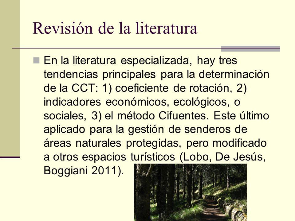 Revisión de la literatura En la literatura especializada, hay tres tendencias principales para la determinación de la CCT: 1) coeficiente de rotación,
