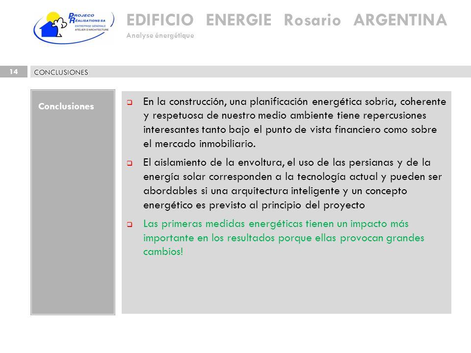 EDIFICIO ENERGIE Rosario ARGENTINA Analyse énergétique 14 Conclusiones En la construcción, una planificación energética sobria, coherente y respetuosa