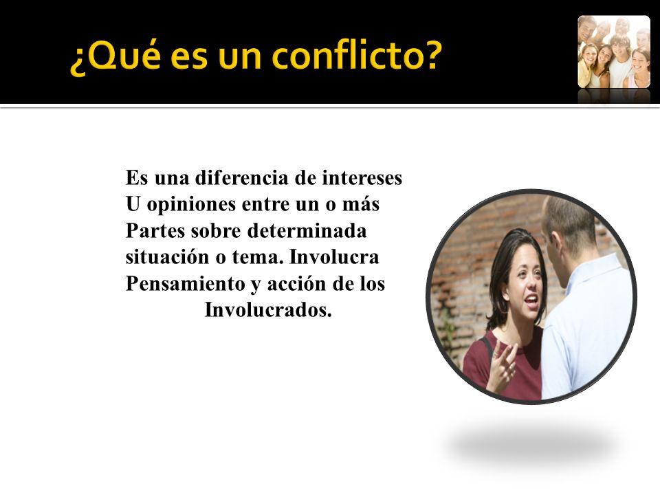 Es una diferencia de intereses U opiniones entre un o más Partes sobre determinada situación o tema. Involucra Pensamiento y acción de los Involucrado