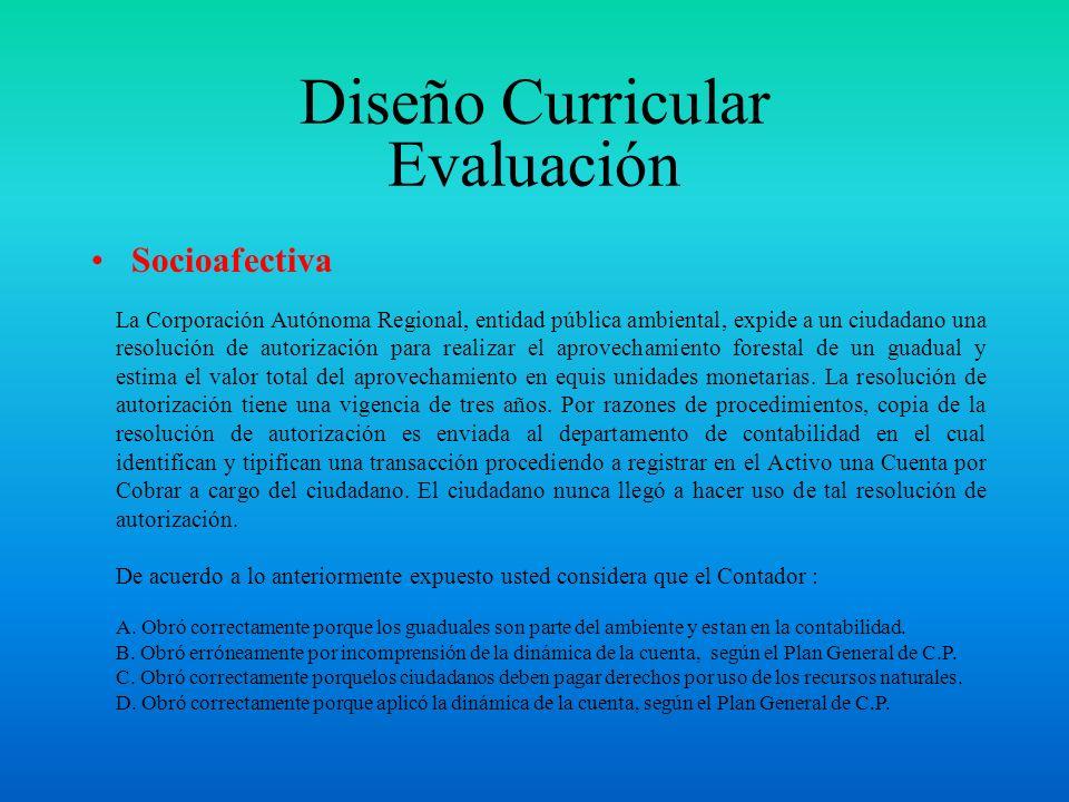 Diseño Curricular Evaluación Cognitiva La forma en que debe ser abierta, administrada y cerrada, el cómo, cuando, el tipo, las características, la cla