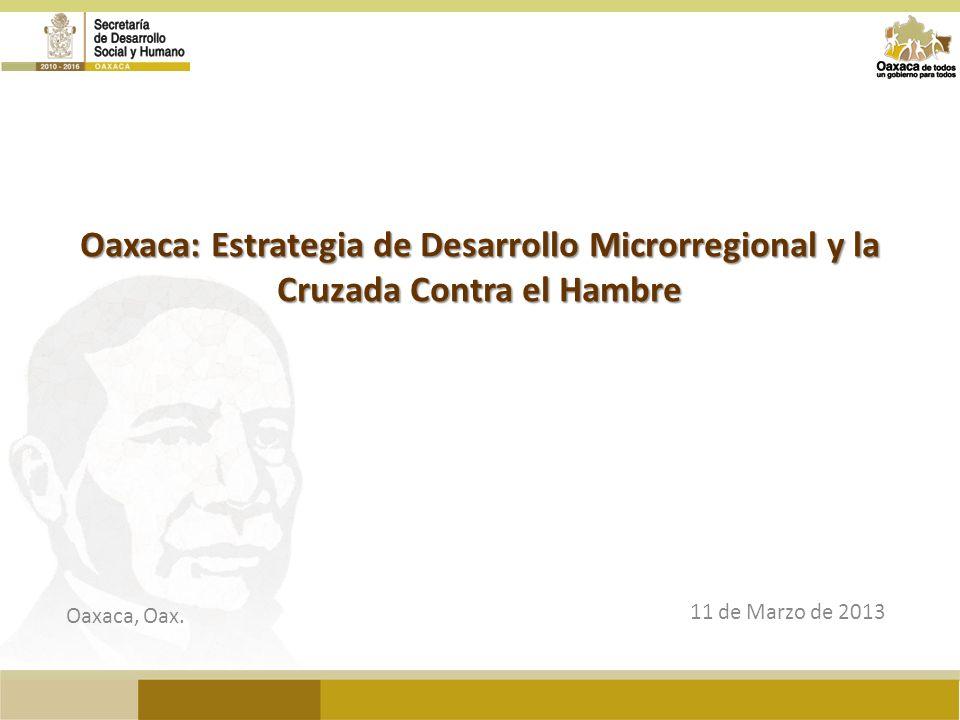 Oaxaca: Estrategia de Desarrollo Microrregional y la Cruzada Contra el Hambre 11 de Marzo de 2013 Oaxaca, Oax.