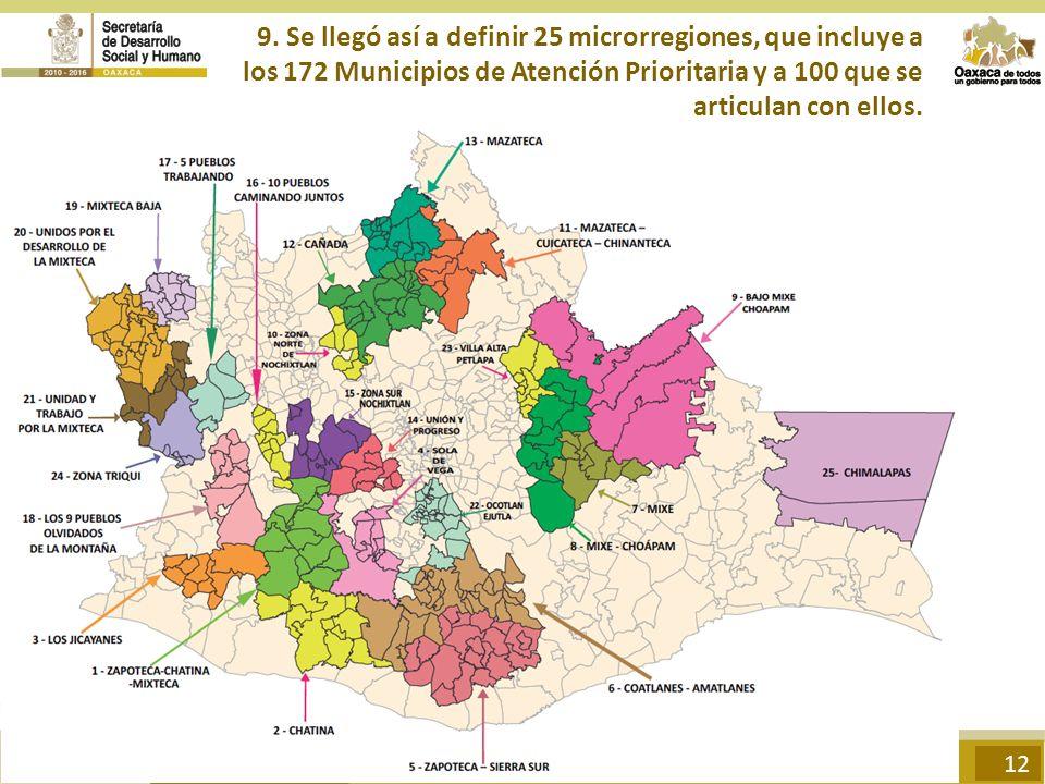 9. Se llegó así a definir 25 microrregiones, que incluye a los 172 Municipios de Atención Prioritaria y a 100 que se articulan con ellos. 12