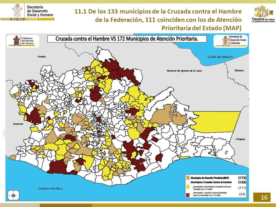 11.1 De los 133 municipios de la Cruzada contra el Hambre de la Federación, 111 coinciden con los de Atención Prioritaria del Estado (MAP) 16