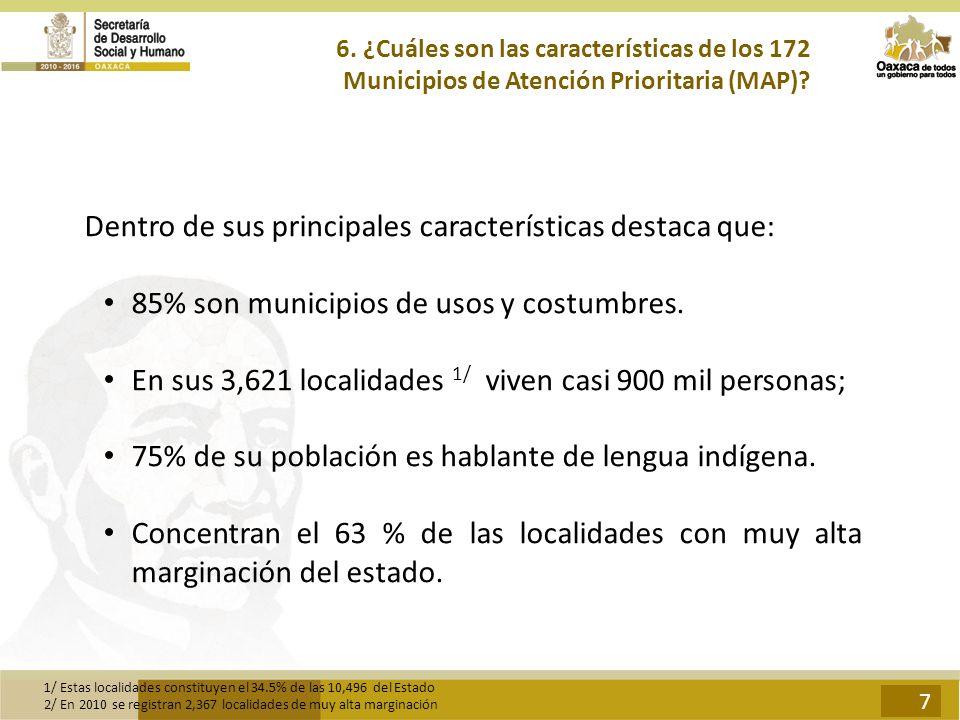 6. ¿Cuáles son las características de los 172 Municipios de Atención Prioritaria (MAP)? Dentro de sus principales características destaca que: 85% son