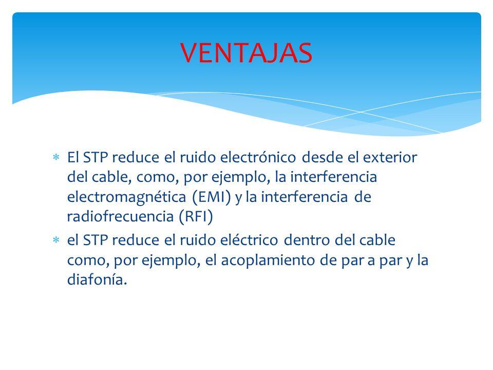 El STP reduce el ruido electrónico desde el exterior del cable, como, por ejemplo, la interferencia electromagnética (EMI) y la interferencia de radiofrecuencia (RFI) el STP reduce el ruido eléctrico dentro del cable como, por ejemplo, el acoplamiento de par a par y la diafonía.