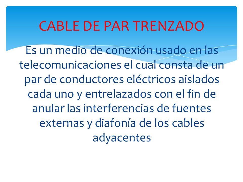 Es un medio de conexión usado en las telecomunicaciones el cual consta de un par de conductores eléctricos aislados cada uno y entrelazados con el fin de anular las interferencias de fuentes externas y diafonía de los cables adyacentes CABLE DE PAR TRENZADO