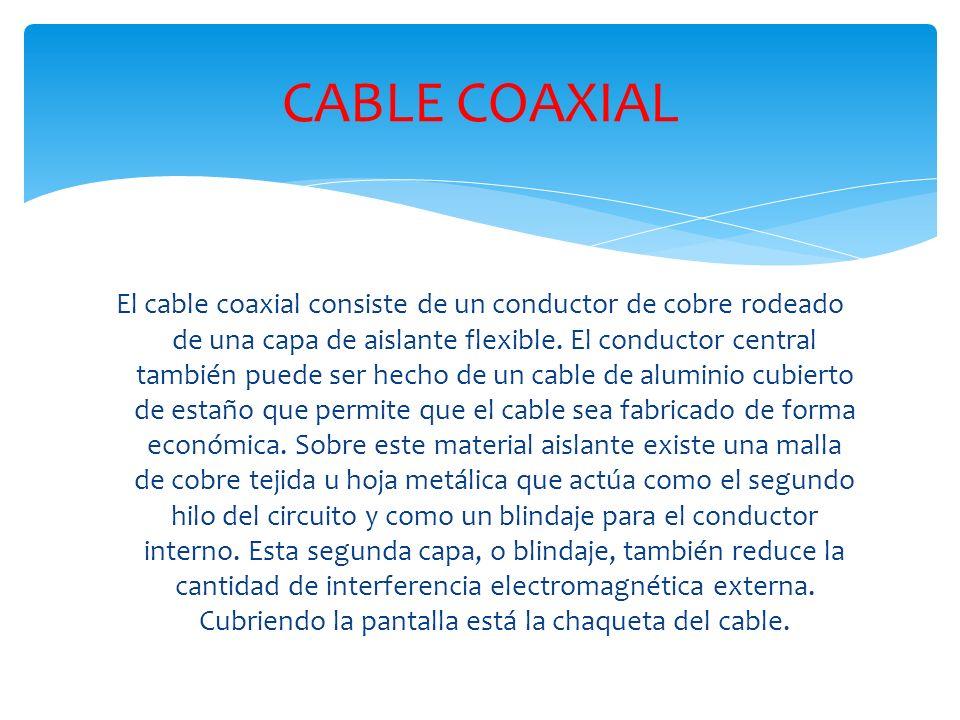 El cable coaxial consiste de un conductor de cobre rodeado de una capa de aislante flexible.