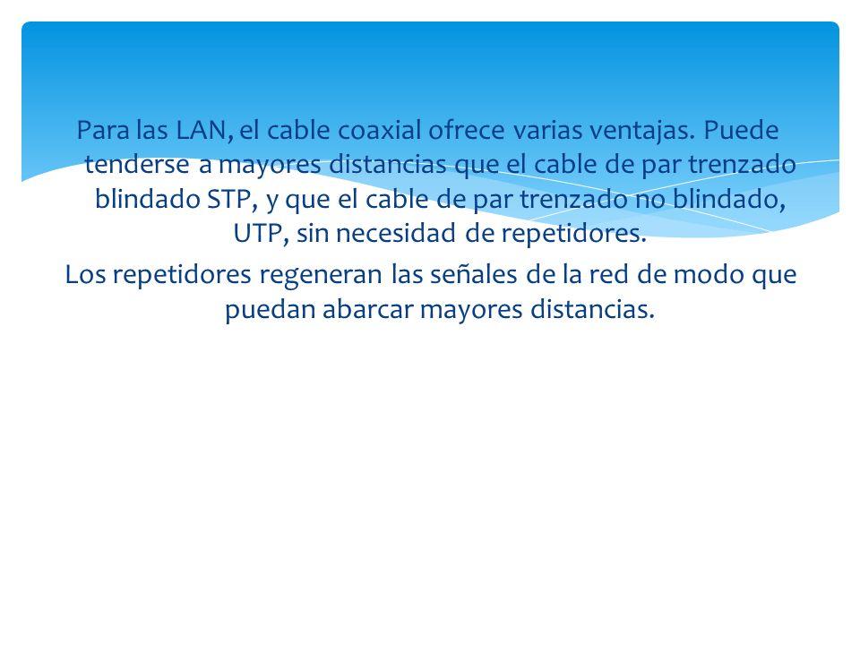 Para las LAN, el cable coaxial ofrece varias ventajas.