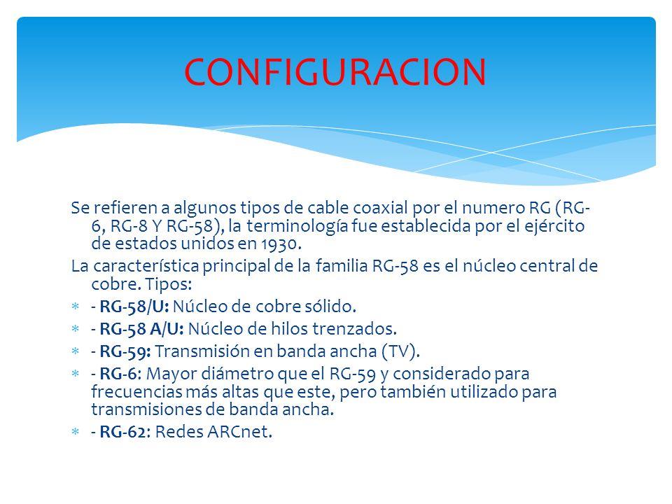 Se refieren a algunos tipos de cable coaxial por el numero RG (RG- 6, RG-8 Y RG-58), la terminología fue establecida por el ejército de estados unidos en 1930.