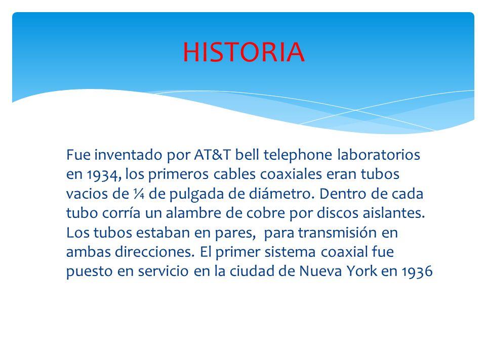 Fue inventado por AT&T bell telephone laboratorios en 1934, los primeros cables coaxiales eran tubos vacios de ¼ de pulgada de diámetro.