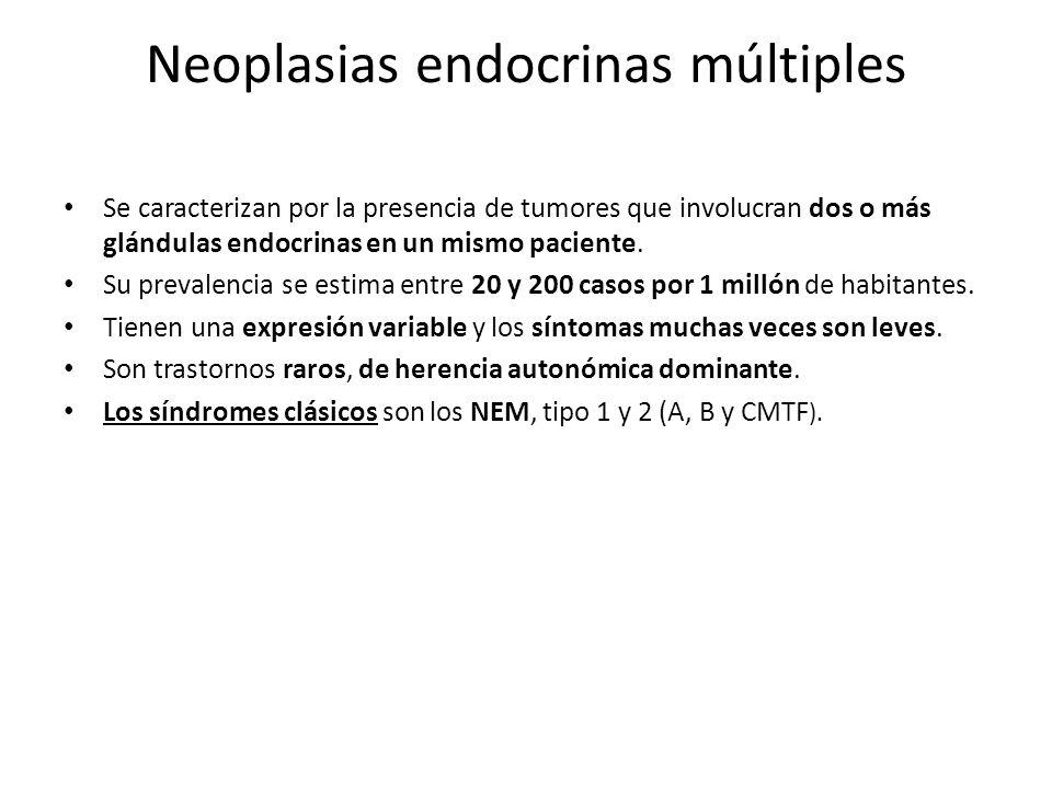Neoplasias endocrinas múltiples Se caracterizan por la presencia de tumores que involucran dos o más glándulas endocrinas en un mismo paciente. Su pre