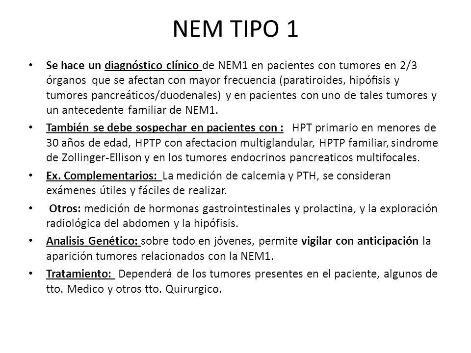 NEM TIPO 1 Se hace un diagnóstico clínico de NEM1 en pacientes con tumores en 2/3 órganos que se afectan con mayor frecuencia (paratiroides, hipósis y
