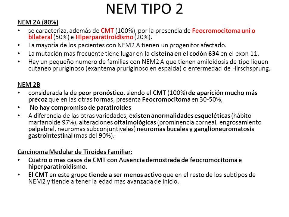 NEM TIPO 2 NEM 2A (80%) se caracteriza, además de CMT (100%), por la presencia de Feocromocitoma uni o bilateral (50%) e Hiperparatiroidismo (20%). La