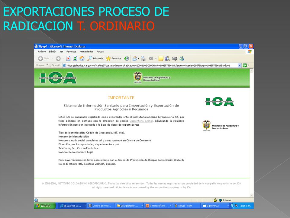 EXPORTACIONES PROCESO DE RADICACION T. ORDINARIO
