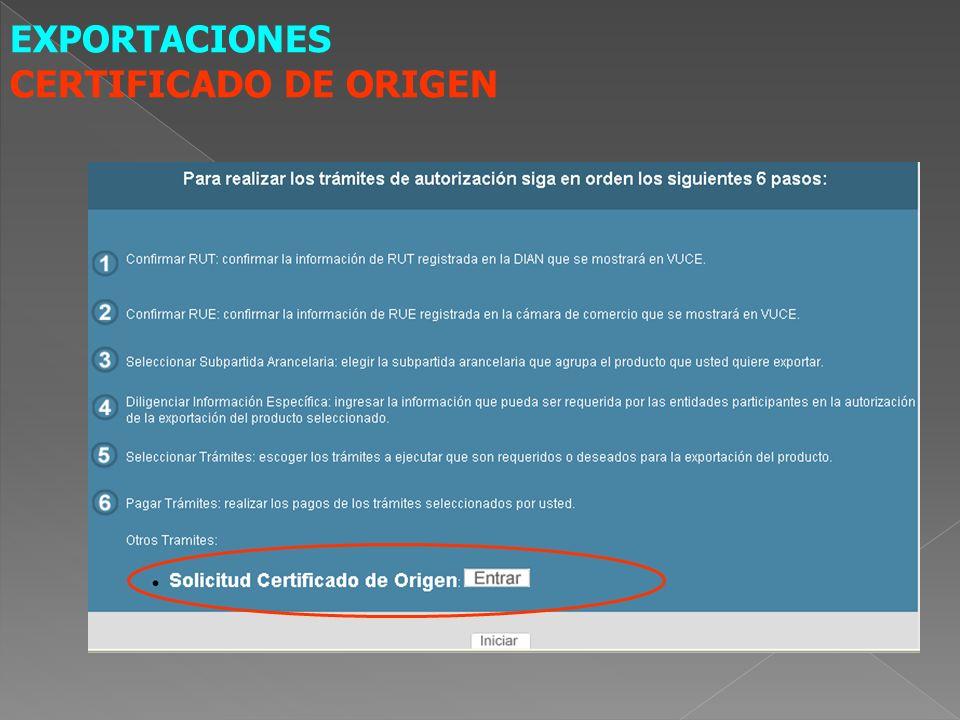 EXPORTACIONES CERTIFICADO DE ORIGEN