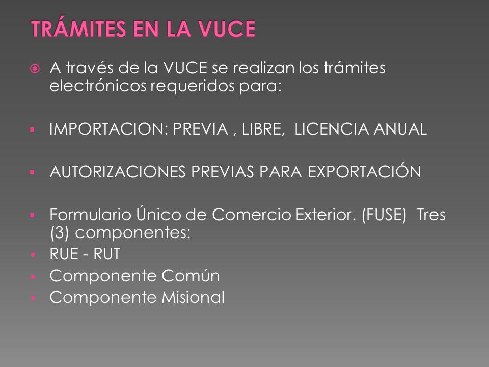 A través de la VUCE se realizan los trámites electrónicos requeridos para: IMPORTACION: PREVIA, LIBRE, LICENCIA ANUAL AUTORIZACIONES PREVIAS PARA EXPORTACIÓN Formulario Único de Comercio Exterior.