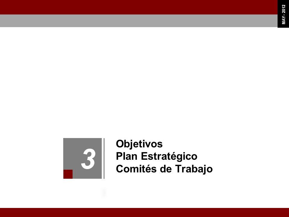 OCT 11 MAY - 2012 Objetivos Plan Estratégico Comités de Trabajo 3