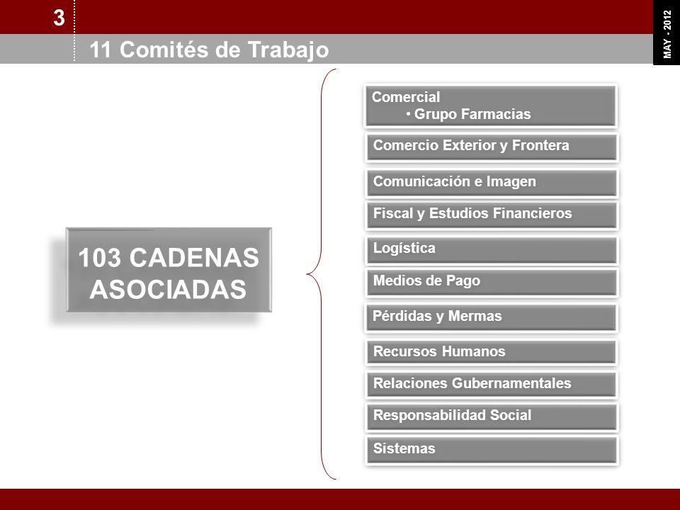 OCT 11 MAY - 2012 3 11 Comités de Trabajo 103 CADENAS ASOCIADAS 103 CADENAS ASOCIADAS Fiscal y Estudios Financieros Comercial Grupo Farmacias Comercia