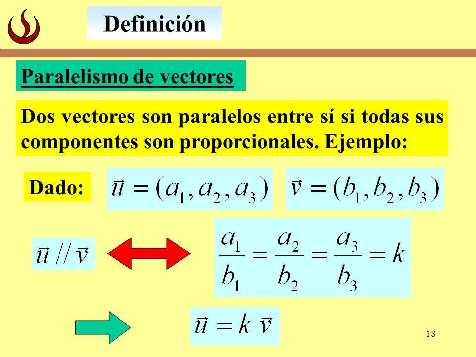 18 Paralelismo de vectores Dos vectores son paralelos entre sí si todas sus componentes son proporcionales. Ejemplo: Definición Dado: