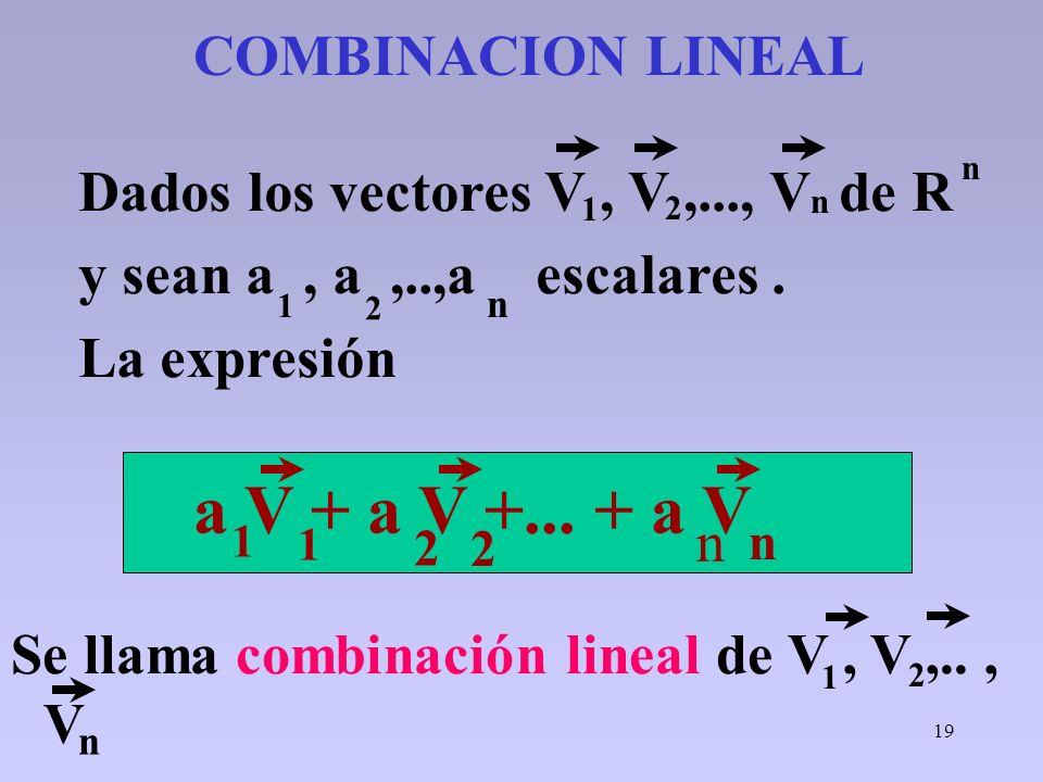 19 COMBINACION LINEAL Se llama combinación lineal de V, V,.., V Dados los vectores V, V,..., V de R y sean a, a,..,a escalares. La expresión 1 2 n 2 n