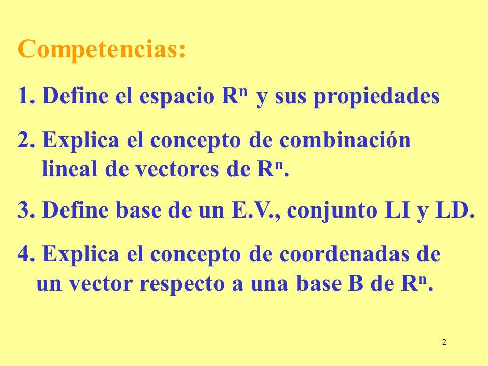 2 Competencias: 1. Define el espacio R n y sus propiedades 2. Explica el concepto de combinación lineal de vectores de R n. 3. Define base de un E.V.,