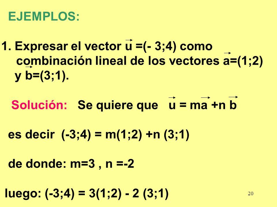 20 EJEMPLOS: 1. Expresar el vector u =(- 3;4) como combinación lineal de los vectores a=(1;2) y b=(3;1). Solución: Se quiere que u = ma +n b es decir