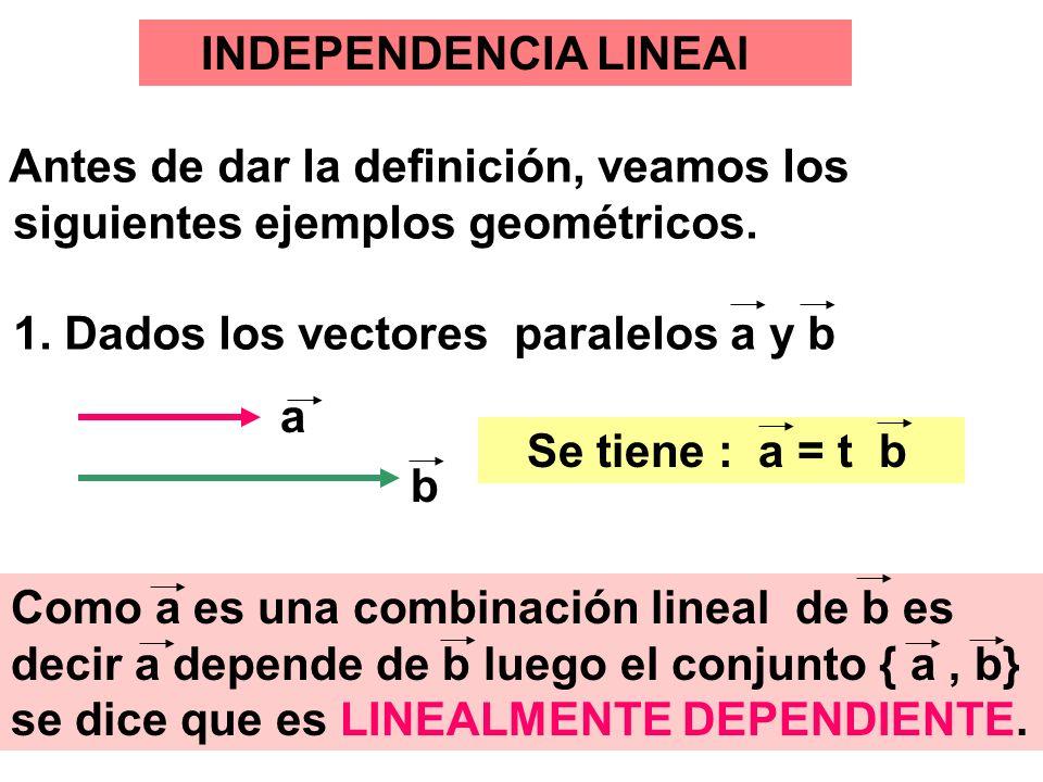 22 INDEPENDENCIA LINEAl Antes de dar la definición, veamos los siguientes ejemplos geométricos. 1. Dados los vectores paralelos a y b Se tiene : a = t