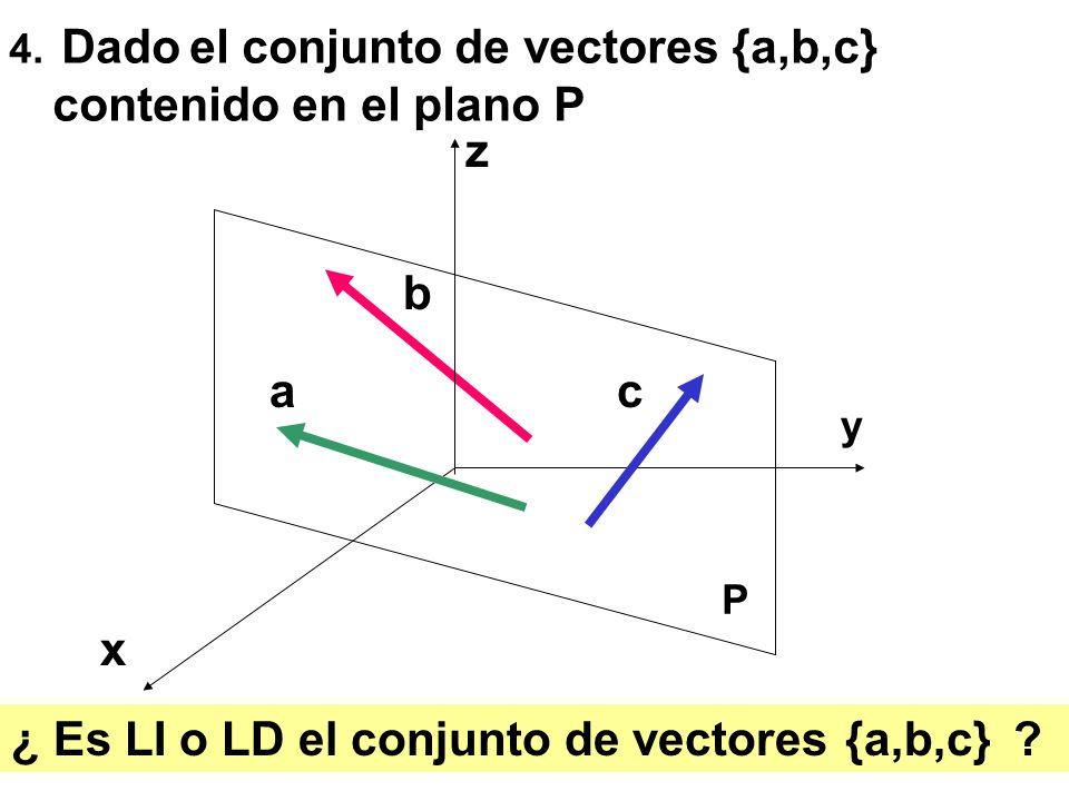 25 4. Dado el conjunto de vectores {a,b,c} contenido en el plano P a b c x z y ¿ Es LI o LD el conjunto de vectores {a,b,c} ? P